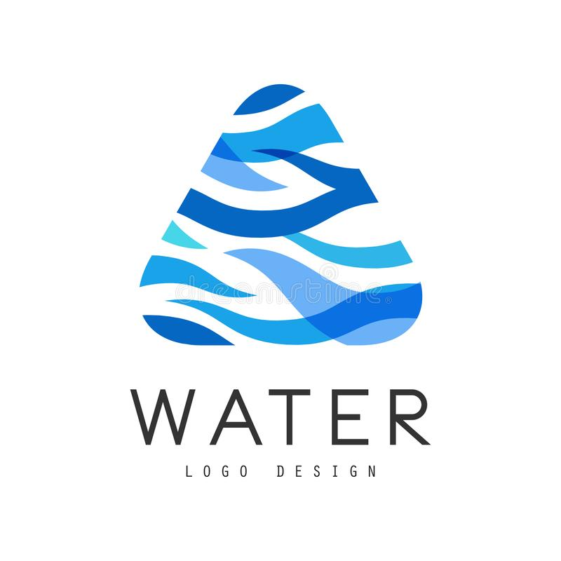 水商标设计,与蓝色三角,海报的,横幅,卡片生态元素的公司本体模板 皇族释放例证