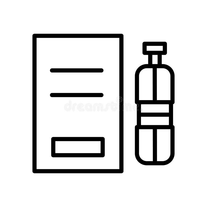 水在白色背景、水标志、线和概述元素隔绝的象传染媒介在线性样式 向量例证