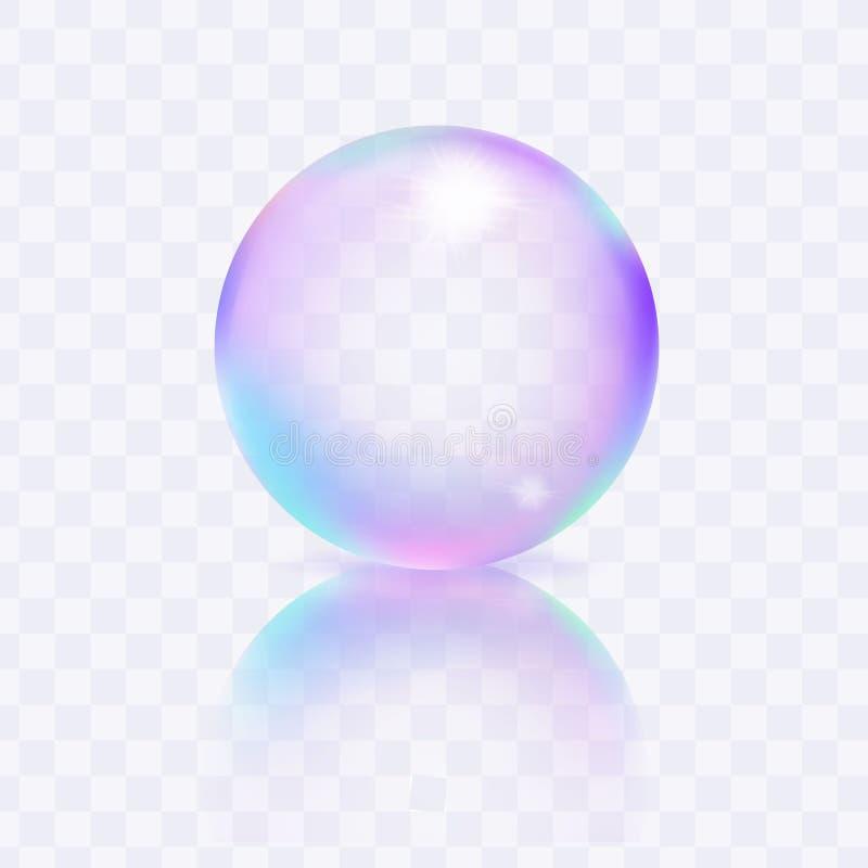 水在透明背景隔绝的肥皂泡 向量例证