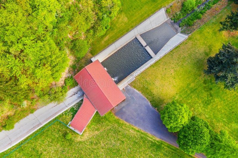 水坝、水房、日出排水 库存图片