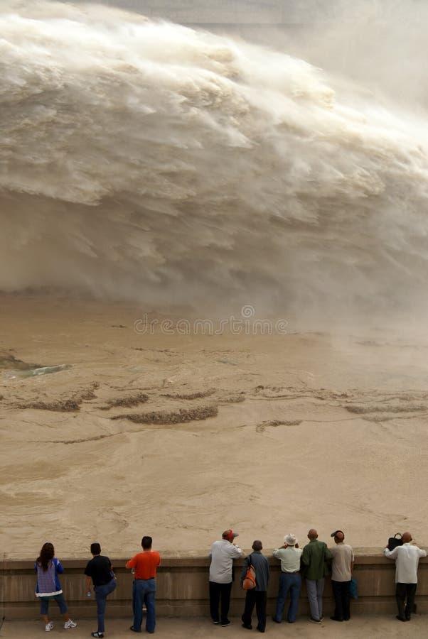 水坝洪水制造人出口pe 库存照片