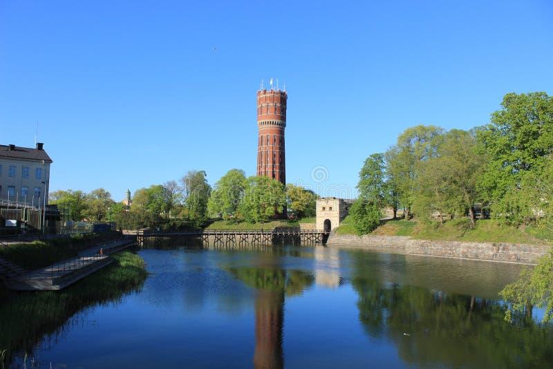 水塔在卡尔马瑞典 库存照片