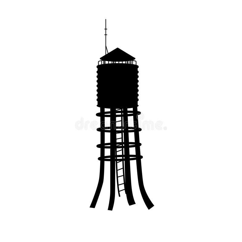 水塔黑剪影在白色背景的 行业横向 老钢罐 皇族释放例证