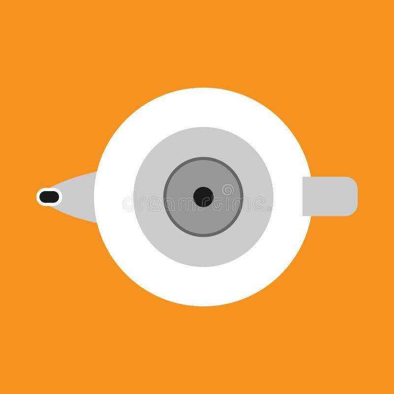 水壶传染媒介象厨房把柄装置 动画片茶罐煮沸 烹调食物的器物水 平的家庭设备上面 向量例证