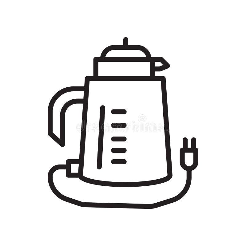 水壶在白色背景、水壶标志、线性标志和冲程设计元素隔绝的象传染媒介在概述样式 向量例证