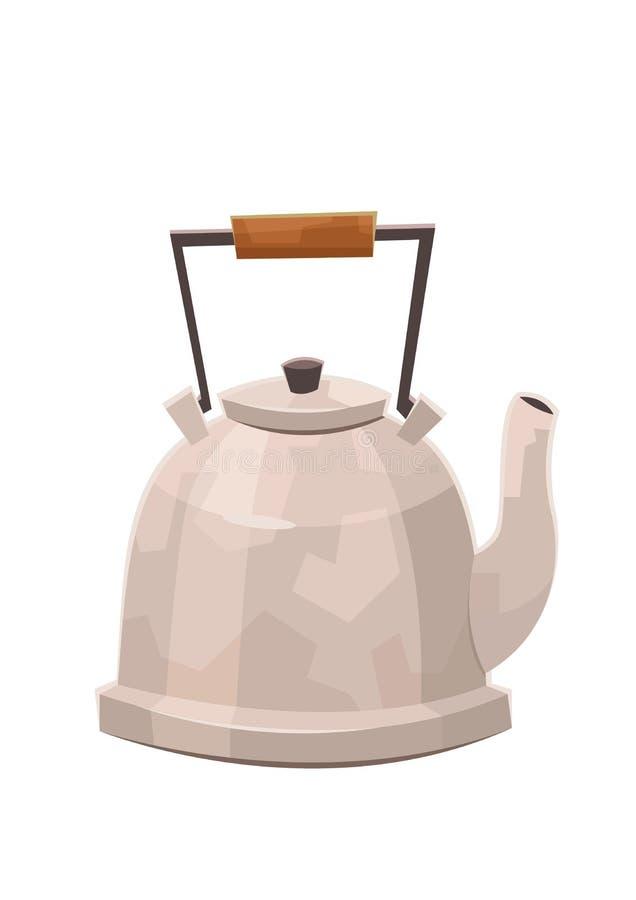 水壶在白色背景的被隔绝的茶壶的平的例证 库存例证