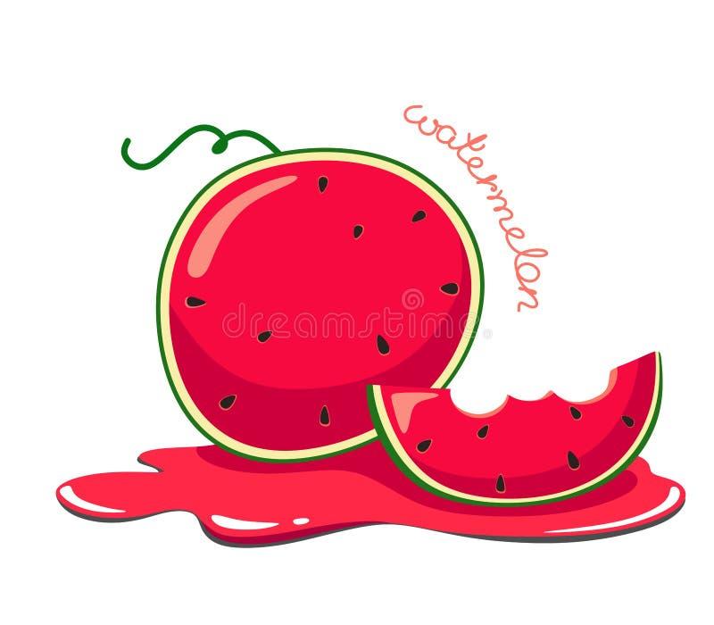 水多和动画片西瓜用在汁液的一点西瓜 r 向量例证