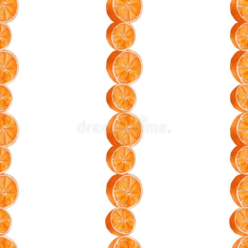 水多的桔子水彩艺术 手拉的无缝的样式用在白色背景的柑桔 库存例证