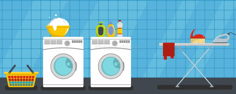 水平内部洗衣店的横幅,平的样式 皇族释放例证