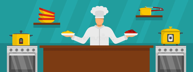 水平厨师主要烹调的横幅,平的样式 皇族释放例证