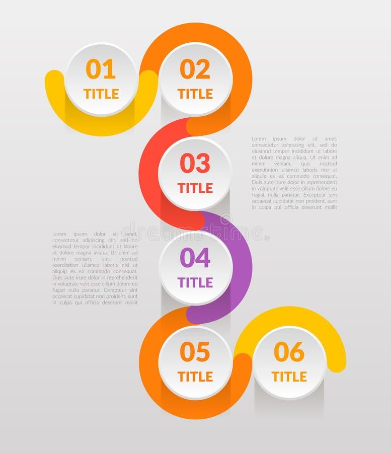 水平垂直的步infographics -能说明战略,时间安排,工作流或队工作,导航平的颜色 向量例证