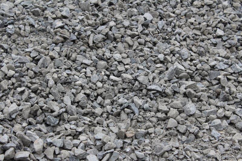 水平宽松压碎岩聚集体的石渣 库存照片