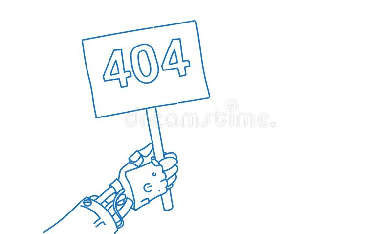 水平机器人手藏品板错误404问题人工智能技术概念机器人的协助 皇族释放例证