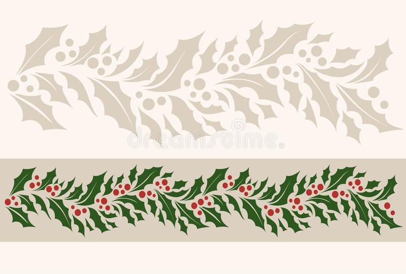 水平的与圣诞节霍莉的边界无缝的样式 皇族释放例证