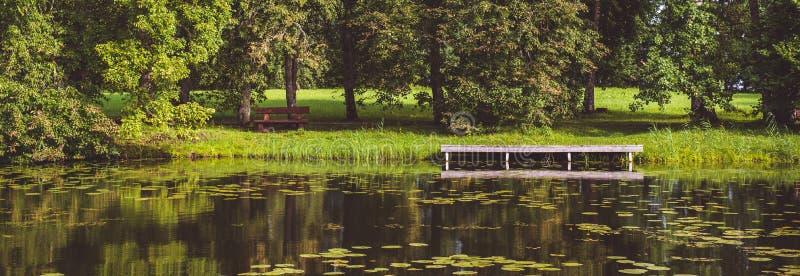 水平的与美丽如画的森林豪华的草坪木码头船坞的图象全景风景视图夏天绿色风景小船的 免版税库存图片