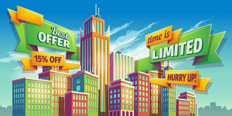 水平的传染媒介动画片例证,横幅,与城市风景的都市背景 向量例证
