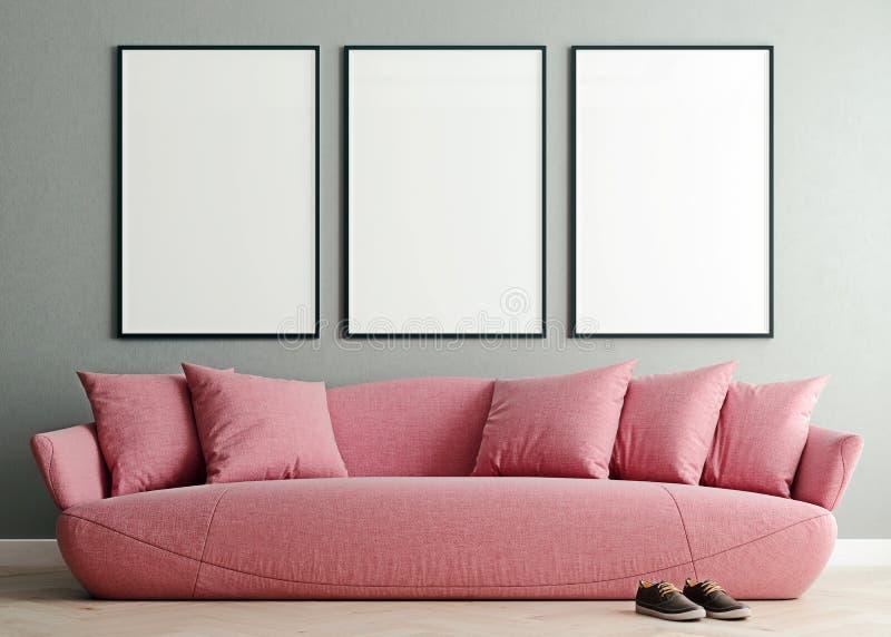 水平的假装海报框架在现代内部背景,千福年的桃红色沙发中在客厅,斯堪的纳维亚样式 皇族释放例证