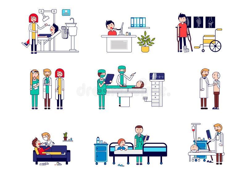 水平的套与医生和患者的医疗 牙医招待会的传染媒介例证,网上咨询,tra 向量例证