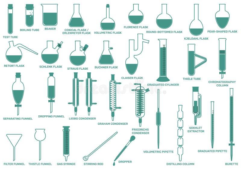 水平的实验室玻璃器皿 向量例证