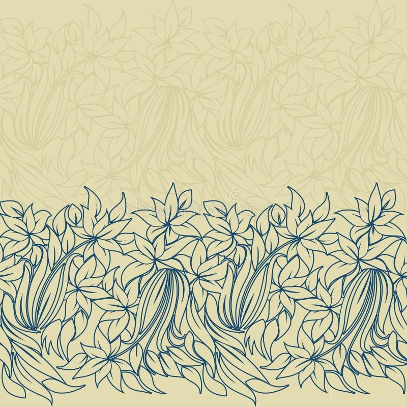 水平的无缝的花卉模式 向量例证