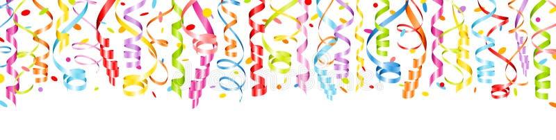 水平的横幅五颜六色的飘带和五彩纸屑 向量例证