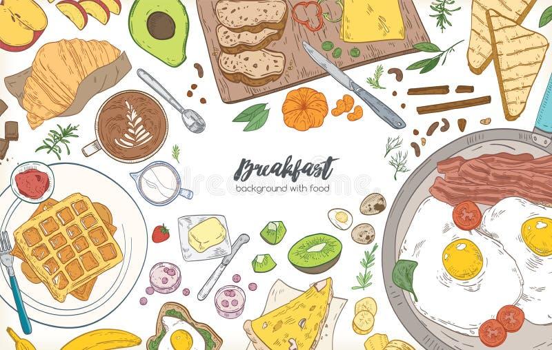 水平的横幅或背景与框架包括了各种各样的早餐饭食和健康的早晨食物-新月形面包 皇族释放例证
