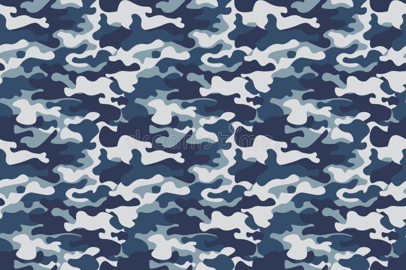 水平的横幅无缝的伪装样式背景 经典衣物样式掩没的camo重复印刷品 蓝色,海军 库存图片