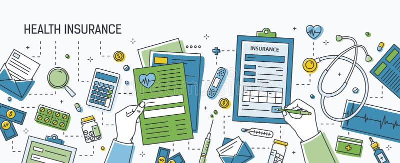 水平的横幅用填好表格健康保险的手围拢由美元钞票和硬币,药片和 向量例证