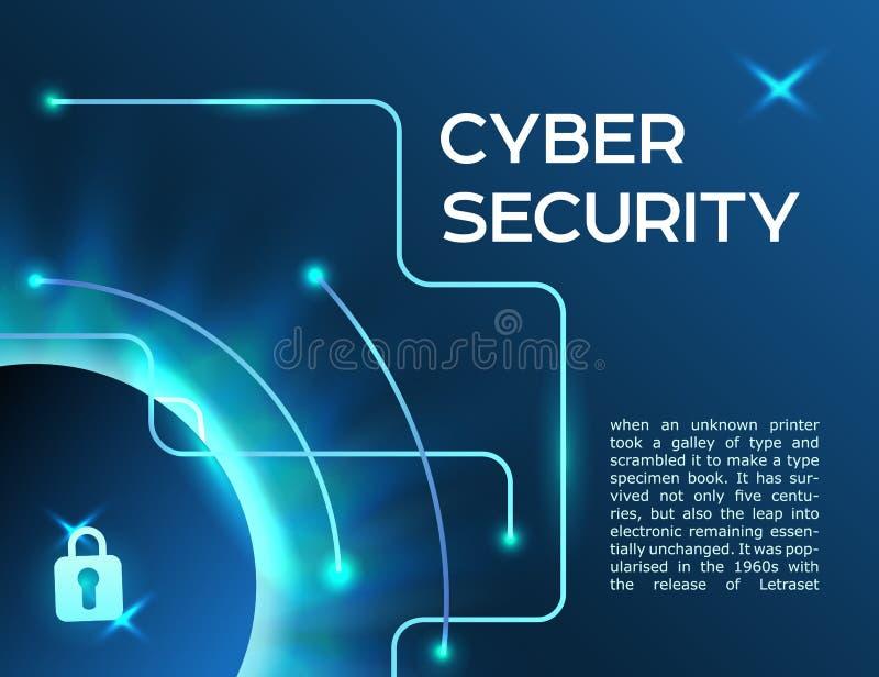 水平的横幅网络担保信息保密性想法或yber数据保密 皇族释放例证