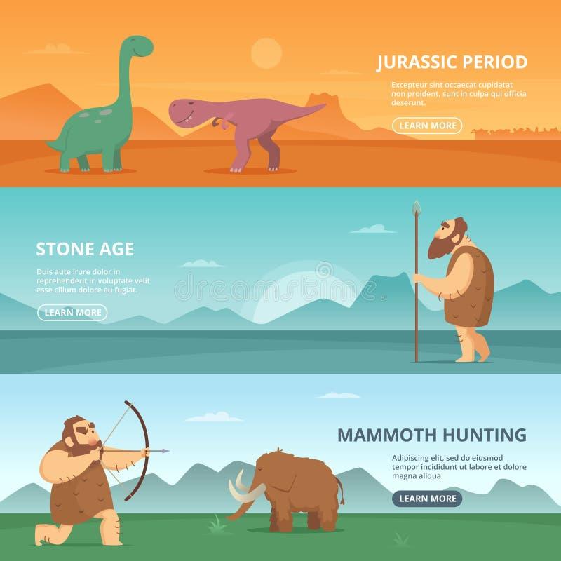 水平的横幅设置了与原始史前期间人民和不同的恐龙的例证 向量例证