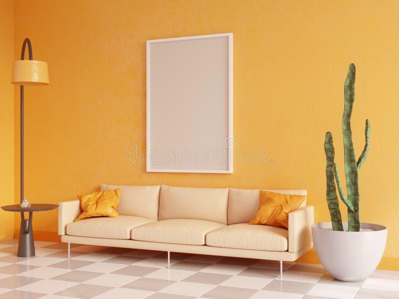 水平的海报嘲笑与框架、沙发、灯和植物 3d翻译 例证 皇族释放例证