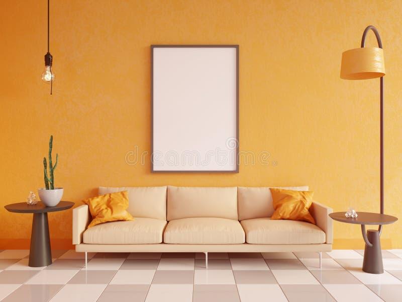 水平的海报嘲笑与框架、沙发、灯和植物 3d翻译 例证 向量例证
