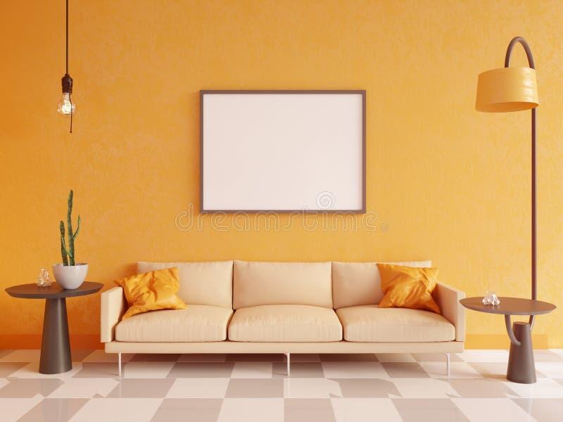 水平的海报嘲笑与框架、沙发、灯和植物 3d翻译 例证 库存例证