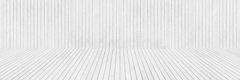 水平的白色木墙壁和地板样式和设计的 免版税库存图片