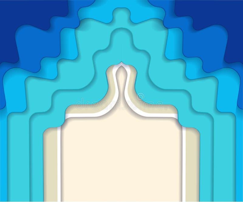 水平的相称抽象蓝色土耳其玉色马尔代夫海洋和海滩夏天背景与纸波浪和沙子海岸 向量例证