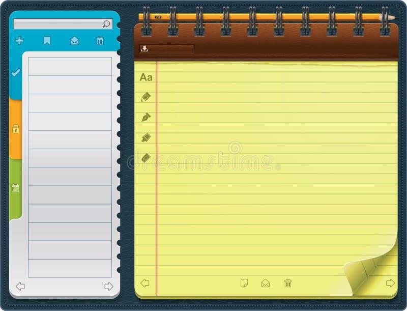 水平的记事本模板向量 向量例证