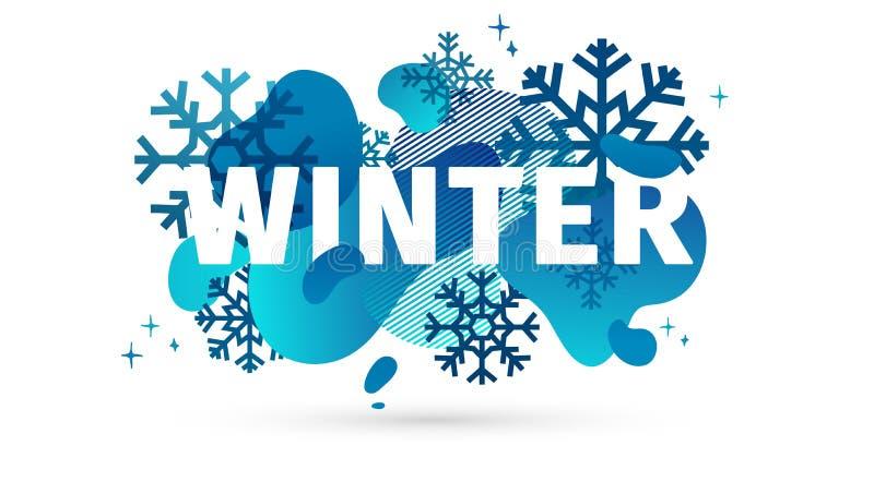 水平的设计冬天模板横幅有抽象几何形状背景 季节的冷的蓝色样式布局 向量例证