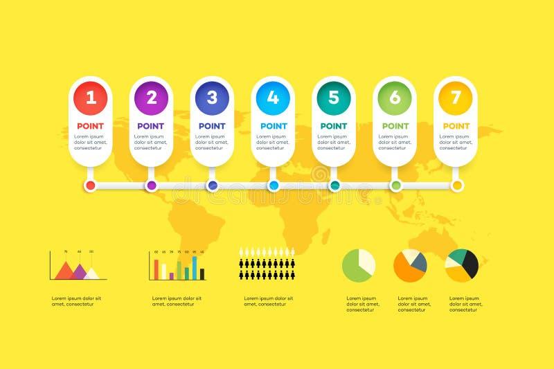 水平的Infographic时间安排 向量例证
