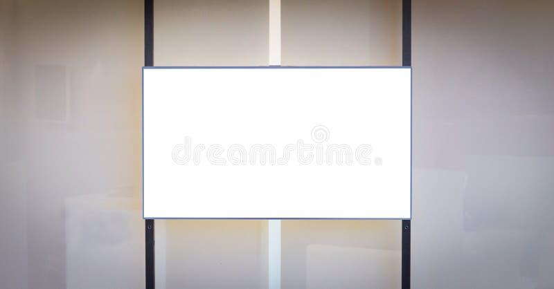 水平的LCD屏幕广告大模型 奶油被装载的饼干 垂直的黑线 复制空间 免版税图库摄影