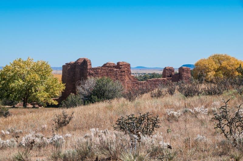 水平的Quarai废墟,盐沼使命国家历史文物,NM在上下文 皇族释放例证
