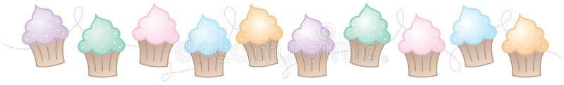 水平边界的杯形蛋糕 向量例证