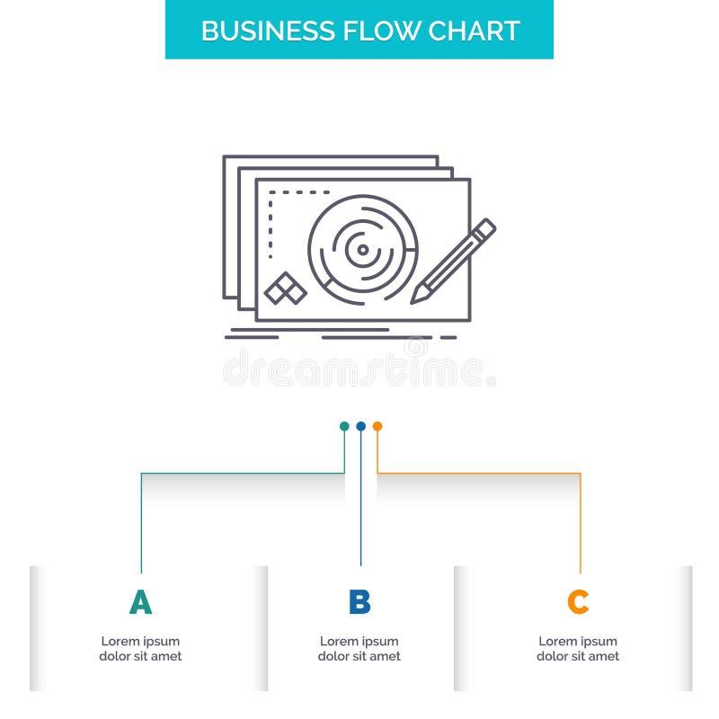 水平,设计,新,完全,比赛企业与3步的流程图设计 r 库存例证