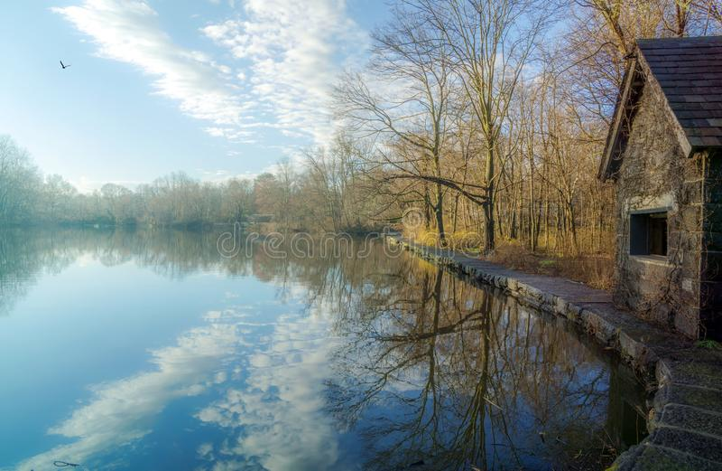 水库风景看法在Larchmont NY 库存图片