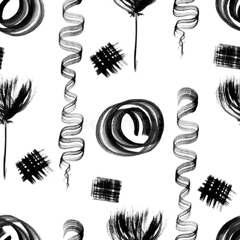 水彩、墨水或者树胶水彩画颜料飞溅 模式无缝的漩涡 绘黑难看的东西斑点 皇族释放例证