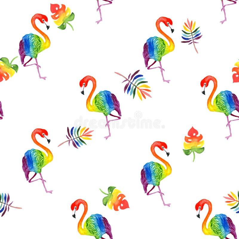 水彩一群美丽的热带异乎寻常的彩虹火鸟的例证样式与热带彩虹色叶子的 库存照片
