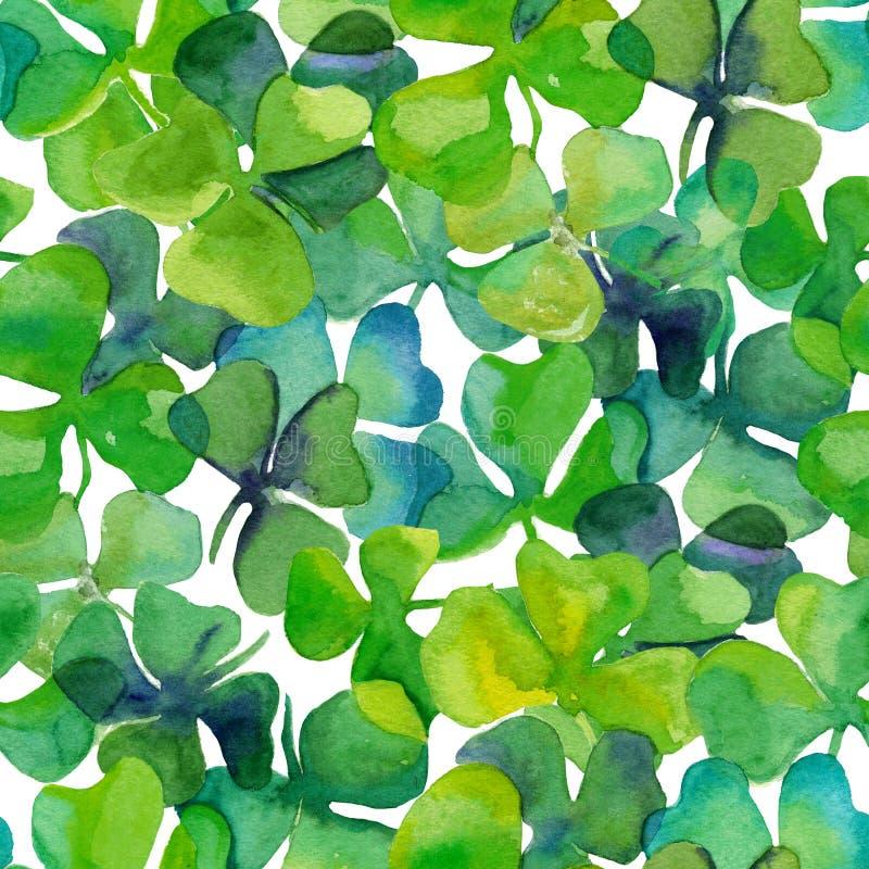 水彩三叶草在充分的框架无缝的瓦片离开 免版税库存图片