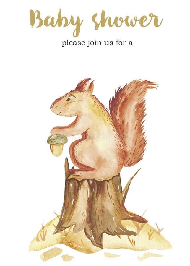 水彩与一只逗人喜爱的动画片灰鼠的秋天卡片在与橡子的一个树桩 皇族释放例证