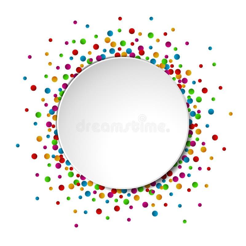 水彩与五彩纸屑的庆祝背景和文本的圆的白皮书空间 向量例证