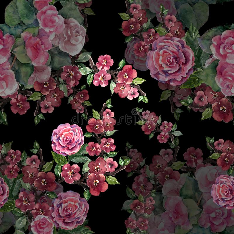 水彩与佐仓的诗歌选花 在黑背景的花卉无缝的样式 皇族释放例证