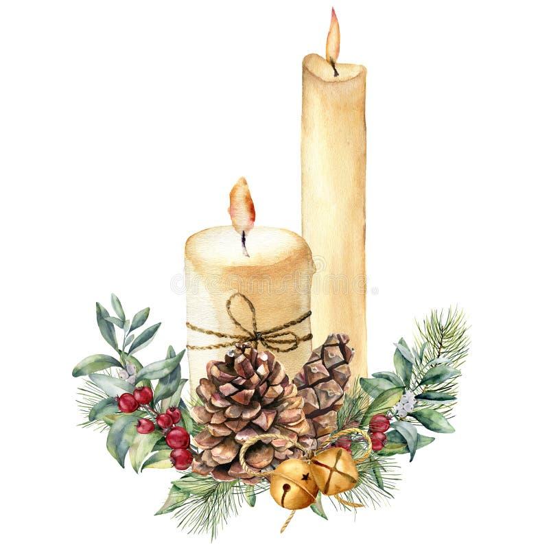 水彩与假日装饰的圣诞节蜡烛 手画蜡烛、霍莉、圣诞树被隔绝的分支和响铃  向量例证